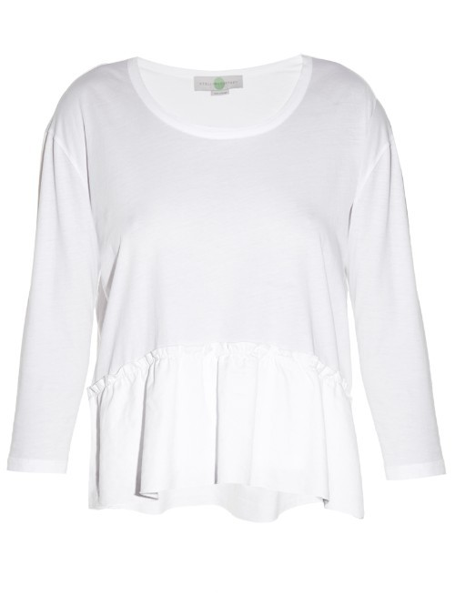Ruffle Trimmed Top - neckline: round neck; pattern: plain; waist detail: peplum waist detail; predominant colour: white; occasions: casual; length: standard; style: top; fibres: cotton - 100%; fit: body skimming; sleeve length: long sleeve; sleeve style: standard; pattern type: fabric; texture group: jersey - stretchy/drapey; season: s/s 2016; wardrobe: basic