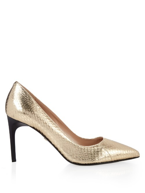 Berlin Pumps - predominant colour: gold; secondary colour: black; occasions: evening; material: leather; heel height: high; heel: stiletto; toe: pointed toe; style: courts; finish: metallic; pattern: plain; season: s/s 2016; wardrobe: event