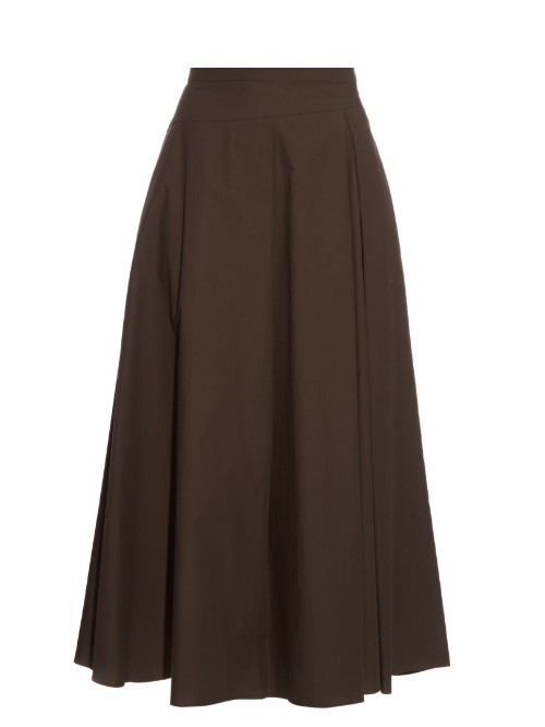 Mango Skirt - length: below the knee; pattern: plain; style: full/prom skirt; fit: loose/voluminous; waist: high rise; predominant colour: chocolate brown; fibres: cotton - 100%; hip detail: subtle/flattering hip detail; pattern type: fabric; texture group: other - light to midweight; occasions: creative work; season: s/s 2016; wardrobe: basic