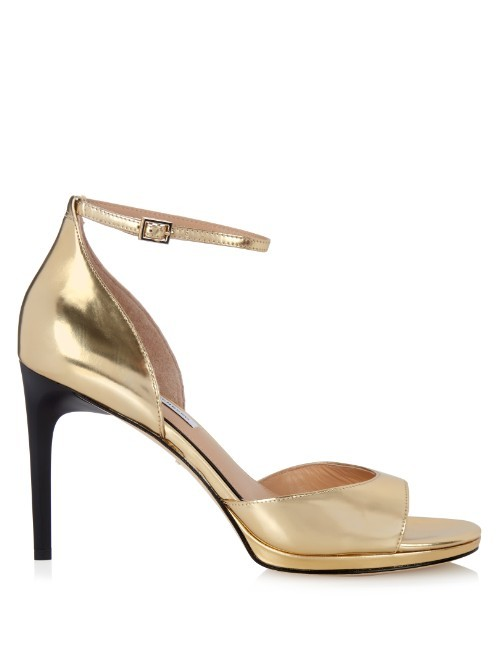 Jalen Sandals - predominant colour: gold; occasions: evening, occasion; material: leather; ankle detail: ankle strap; heel: stiletto; toe: open toe/peeptoe; style: strappy; finish: metallic; pattern: plain; heel height: very high; season: s/s 2016; wardrobe: event