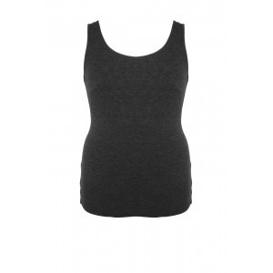 Modal Jersey Vest Top - sleeve style: standard vest straps/shoulder straps; style: vest top; predominant colour: charcoal; occasions: casual; length: standard; neckline: scoop; fibres: cotton - stretch; fit: body skimming; sleeve length: sleeveless; texture group: jersey - clingy; pattern type: fabric; pattern: marl; season: s/s 2016