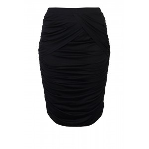 Modal Jersey Gathered Panel Skirt - pattern: plain; fit: body skimming; waist: high rise; waist detail: twist front waist detail/nipped in at waist on one side/soft pleats/draping/ruching/gathering waist detail; predominant colour: black; occasions: evening; length: just above the knee; fibres: viscose/rayon - stretch; style: tube; hip detail: ruching/gathering at hip; pattern type: fabric; texture group: jersey - stretchy/drapey; season: s/s 2016