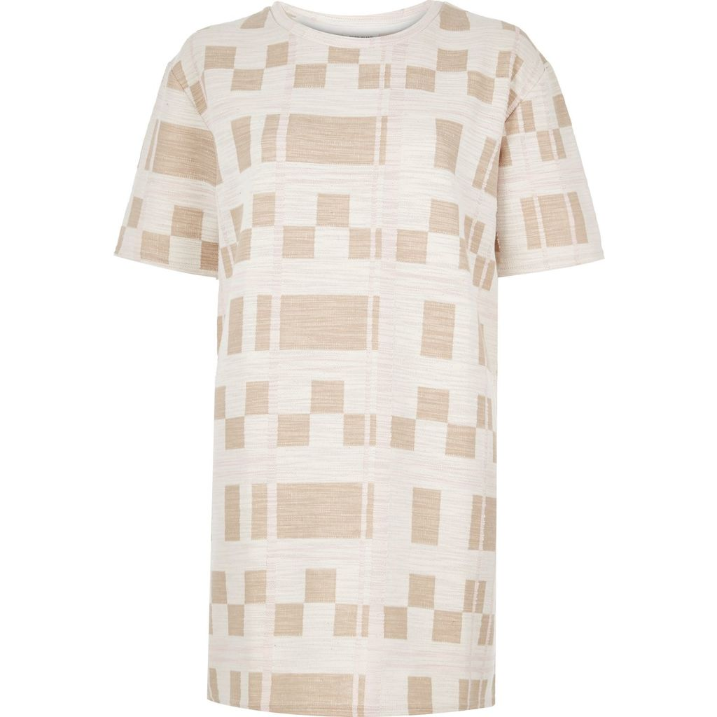 Womens Cream Check Print Longline T Shirt - length: below the bottom; style: t-shirt; predominant colour: ivory/cream; secondary colour: nude; occasions: casual; fibres: cotton - mix; fit: loose; neckline: crew; sleeve length: short sleeve; sleeve style: standard; pattern type: fabric; pattern: patterned/print; texture group: jersey - stretchy/drapey; multicoloured: multicoloured; season: s/s 2016; wardrobe: highlight