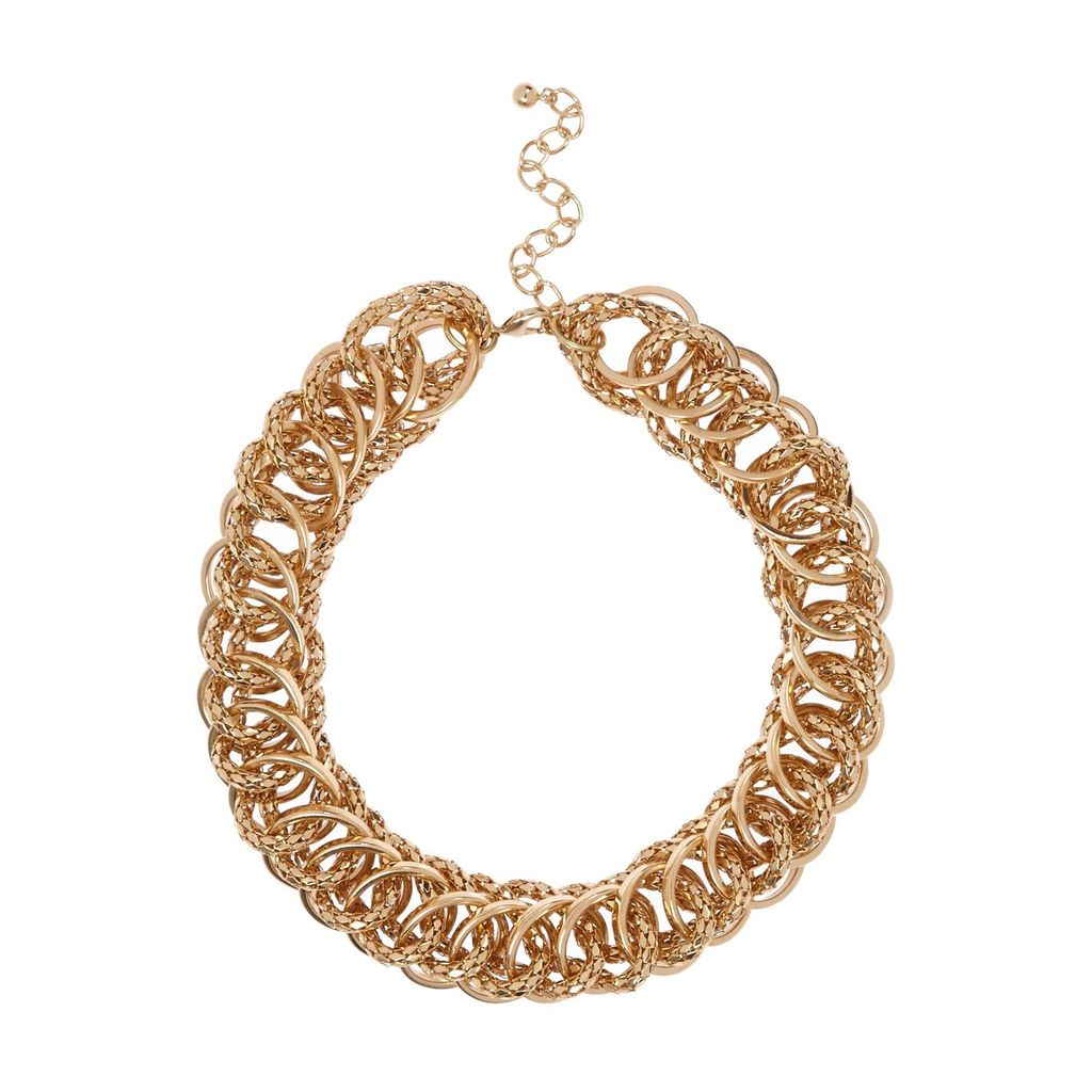 Womens Gold Tone Chunky Chain Chain Necklace - predominant colour: gold; occasions: evening, occasion; length: choker; size: large/oversized; material: chain/metal; finish: metallic; season: s/s 2016; style: chain (no pendant); wardrobe: event