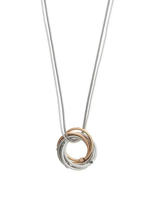 Silver Circle Loop Necklace - predominant colour: silver; occasions: casual; style: pendant; length: long; size: standard; material: chain/metal; finish: metallic; season: s/s 2016