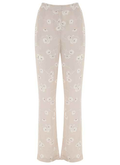 Simone Print Soft Wide Leg Trouser - length: standard; waist: mid/regular rise; secondary colour: white; predominant colour: stone; occasions: casual; fibres: viscose/rayon - 100%; fit: wide leg; pattern type: fabric; pattern: florals; texture group: jersey - stretchy/drapey; style: standard; multicoloured: multicoloured; season: s/s 2016; wardrobe: highlight