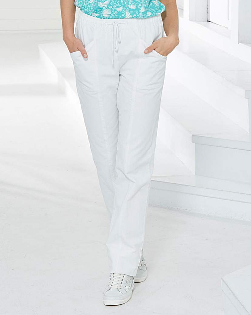 Comfort Fit Jeans Length 25in - style: straight leg; length: standard; pattern: plain; pocket detail: traditional 5 pocket; waist: mid/regular rise; predominant colour: white; occasions: casual; fibres: cotton - stretch; texture group: denim; pattern type: fabric; season: s/s 2016; wardrobe: highlight