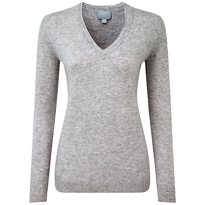 Carline Cashmere Double V Neck Sweater, Heather Dove - neckline: v-neck; pattern: plain; shoulder detail: tiers/frills/ruffles; style: standard; predominant colour: mid grey; occasions: casual, creative work; length: standard; fit: standard fit; fibres: cashmere - 100%; sleeve length: long sleeve; sleeve style: standard; texture group: knits/crochet; pattern type: knitted - fine stitch; season: s/s 2016