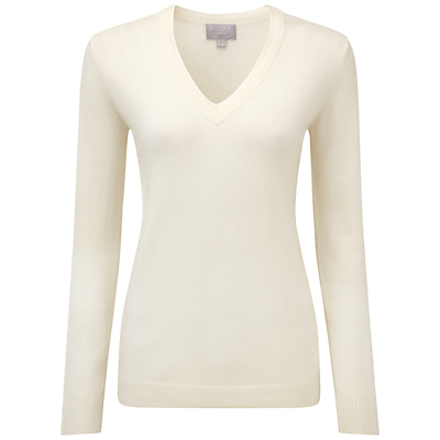Evelyn Cashmere Double V Neck Sweater, Soft White - neckline: v-neck; pattern: plain; style: standard; predominant colour: ivory/cream; occasions: casual, creative work; length: standard; fit: tight; fibres: cashmere - 100%; sleeve length: long sleeve; sleeve style: standard; texture group: knits/crochet; pattern type: knitted - fine stitch; season: s/s 2016; wardrobe: investment