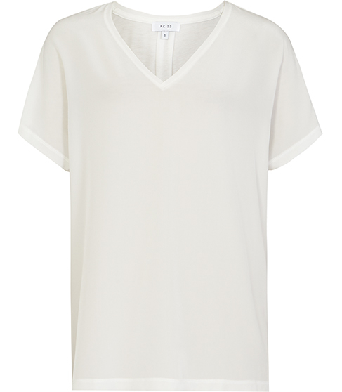 Darcy Silk Front T Shirt - neckline: v-neck; pattern: plain; style: t-shirt; predominant colour: white; occasions: casual; length: standard; fibres: silk - mix; fit: body skimming; sleeve length: short sleeve; sleeve style: standard; texture group: silky - light; pattern type: fabric; season: s/s 2016; wardrobe: basic