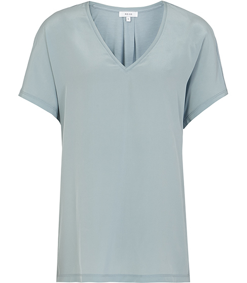 Darcy Silk Front T Shirt - neckline: v-neck; pattern: plain; style: t-shirt; predominant colour: pale blue; occasions: casual; length: standard; fibres: silk - mix; fit: body skimming; sleeve length: short sleeve; sleeve style: standard; texture group: silky - light; pattern type: fabric; season: s/s 2016; wardrobe: highlight