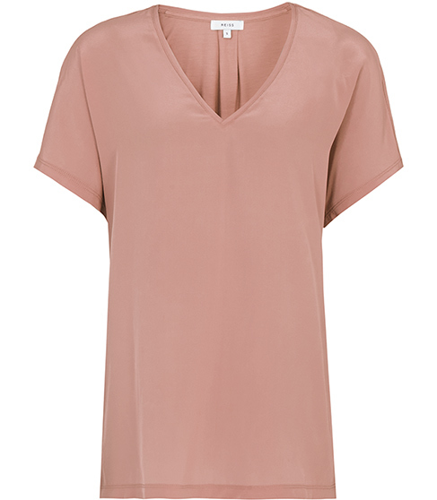 Darcy Silk Front T Shirt - neckline: v-neck; pattern: plain; style: t-shirt; predominant colour: pink; occasions: casual; length: standard; fibres: silk - mix; fit: body skimming; sleeve length: short sleeve; sleeve style: standard; texture group: silky - light; pattern type: fabric; season: s/s 2016