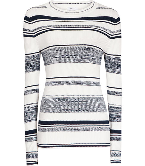 Bonham Ribbed Striped Jumper - neckline: round neck; pattern: horizontal stripes; style: standard; predominant colour: white; secondary colour: mid grey; occasions: casual; length: standard; fibres: viscose/rayon - stretch; fit: slim fit; sleeve length: long sleeve; sleeve style: standard; texture group: knits/crochet; pattern type: fabric; multicoloured: multicoloured; season: s/s 2016; wardrobe: highlight