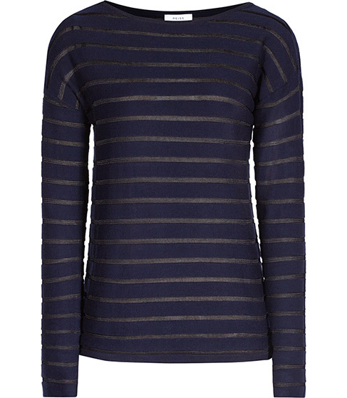 Gray Sheer Stripe Jumper - pattern: horizontal stripes; style: standard; predominant colour: navy; occasions: casual; length: standard; fibres: cotton - mix; fit: standard fit; neckline: crew; sleeve length: long sleeve; sleeve style: standard; texture group: knits/crochet; pattern type: fabric; season: s/s 2016; wardrobe: highlight
