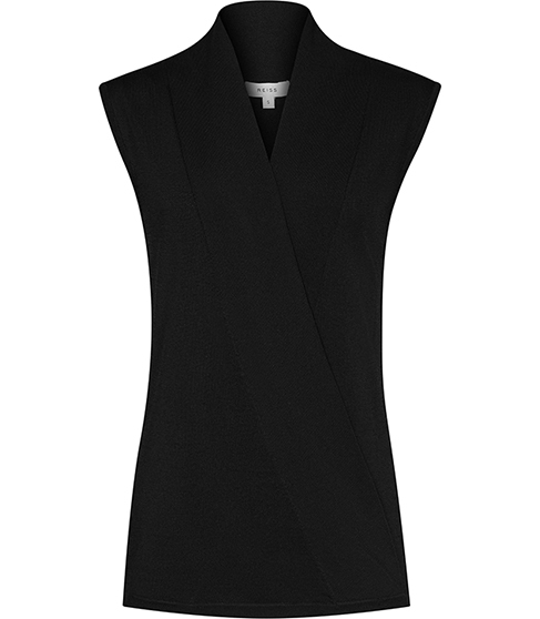 Gianni Wrap Front Knitted Top - neckline: v-neck; pattern: plain; sleeve style: sleeveless; predominant colour: black; occasions: casual; length: standard; style: top; fit: body skimming; sleeve length: sleeveless; texture group: knits/crochet; pattern type: fabric; fibres: viscose/rayon - mix; season: s/s 2016; wardrobe: basic