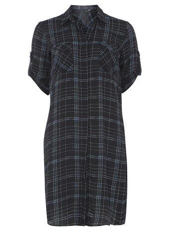 Womens Navy Check Longline Shirt Blue - neckline: shirt collar/peter pan/zip with opening; pattern: checked/gingham; style: shirt; secondary colour: white; predominant colour: navy; occasions: casual; fibres: cotton - 100%; fit: loose; length: mid thigh; sleeve length: short sleeve; sleeve style: standard; texture group: cotton feel fabrics; bust detail: bulky details at bust; pattern type: fabric; pattern size: standard; season: s/s 2016; wardrobe: highlight