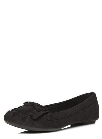Womens Black 'latte' Moccasin Pumps Black - predominant colour: black; occasions: casual, creative work; heel height: flat; toe: round toe; style: ballerinas / pumps; finish: plain; pattern: plain; embellishment: bow; material: faux suede; season: s/s 2016