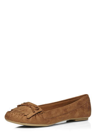Womens Taupe 'latte' Moccasin Pumps Taupe - predominant colour: taupe; occasions: casual, creative work; heel height: flat; toe: round toe; style: ballerinas / pumps; finish: plain; pattern: plain; embellishment: bow; material: faux suede; season: s/s 2016; wardrobe: basic