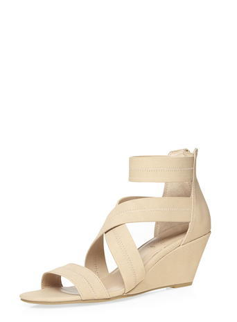 Womens Nude 'vixen' Elastic Wedges Nude - predominant colour: nude; occasions: casual; material: faux leather; heel height: high; ankle detail: ankle strap; heel: wedge; toe: open toe/peeptoe; style: strappy; finish: plain; pattern: plain; season: s/s 2016; wardrobe: investment