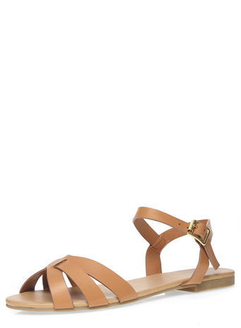 Womens Tan 'shine' Two Part Sandals Brown - predominant colour: camel; occasions: casual, holiday; material: faux leather; heel height: flat; ankle detail: ankle strap; heel: standard; toe: open toe/peeptoe; style: standard; finish: plain; pattern: plain; season: s/s 2016; wardrobe: basic