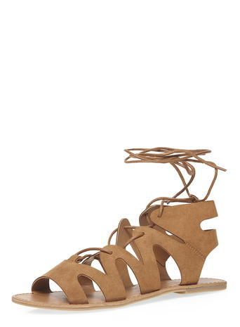 Womens Tan 'sage' Ghillie Sandals Brown - predominant colour: tan; occasions: casual, creative work; material: faux leather; heel height: flat; ankle detail: ankle tie; heel: standard; toe: open toe/peeptoe; style: gladiators; finish: plain; pattern: plain; season: s/s 2016; wardrobe: highlight