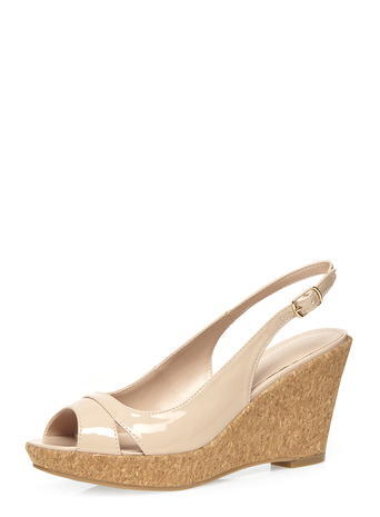 Womens Nude 'voxy' Sling Back Wedges Nude - secondary colour: camel; predominant colour: nude; occasions: casual, creative work; material: faux leather; heel height: high; heel: wedge; toe: open toe/peeptoe; style: slingbacks; finish: patent; pattern: plain; shoe detail: platform; season: s/s 2016; wardrobe: investment