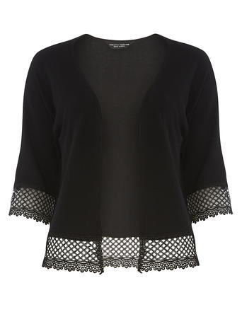 Womens Black Lace Trim Edge 2 Edge Cardigan Black - neckline: collarless open; predominant colour: black; length: standard; style: standard; fit: standard fit; sleeve length: half sleeve; sleeve style: standard; texture group: lace; pattern type: fabric; pattern: patterned/print; fibres: viscose/rayon - mix; embellishment: lace; occasions: creative work; season: s/s 2016; wardrobe: highlight