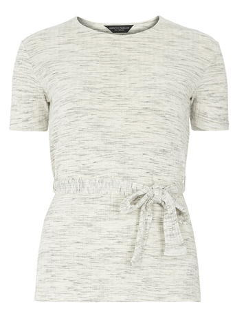 Womens Grey Ribbed Belted Top Grey - pattern: plain; length: below the bottom; waist detail: belted waist/tie at waist/drawstring; predominant colour: light grey; occasions: casual, creative work; style: top; fibres: cotton - stretch; fit: body skimming; neckline: crew; sleeve length: short sleeve; sleeve style: standard; pattern type: fabric; texture group: jersey - stretchy/drapey; season: s/s 2016; wardrobe: basic