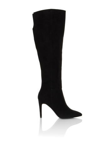 Womens **Little Mistress 'loren' Black Boots Black - predominant colour: black; occasions: casual, creative work; material: suede; heel height: high; heel: stiletto; toe: pointed toe; boot length: knee; style: standard; finish: plain; pattern: plain; season: s/s 2016; wardrobe: investment