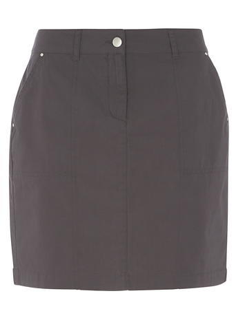 Womens Charcoal Cotton Poplin Skirt Grey - length: mini; pattern: plain; fit: body skimming; waist: mid/regular rise; predominant colour: charcoal; occasions: casual; style: mini skirt; fibres: cotton - 100%; pattern type: fabric; texture group: woven light midweight; season: s/s 2016; wardrobe: basic