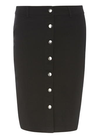 Womens Black Button Front Skirt Black - pattern: plain; style: pencil; fit: tailored/fitted; waist: mid/regular rise; predominant colour: black; occasions: work; length: just above the knee; fibres: cotton - stretch; pattern type: fabric; texture group: woven light midweight; season: s/s 2016; wardrobe: basic