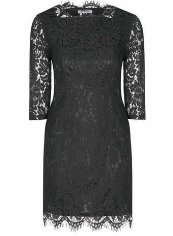 Womens **Alice & You Black Scallop Lace Dress Black - style: shift; length: mid thigh; neckline: high square neck; fit: tailored/fitted; hip detail: draws attention to hips; predominant colour: black; fibres: polyester/polyamide - 100%; occasions: occasion; sleeve length: 3/4 length; sleeve style: standard; texture group: lace; pattern type: fabric; pattern: patterned/print; embellishment: lace; season: s/s 2016; wardrobe: event