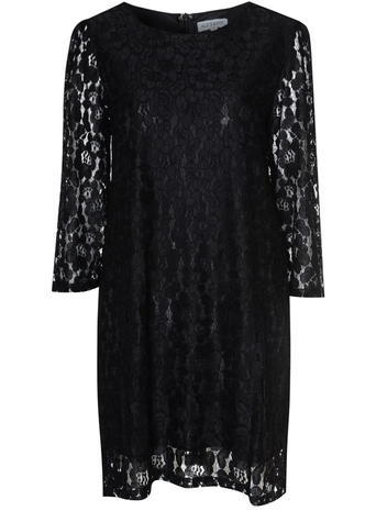 Womens *Alice & You Black Lace Swing Dress Black - style: shift; length: mid thigh; neckline: round neck; predominant colour: black; occasions: evening; fit: body skimming; fibres: polyester/polyamide - 100%; sleeve length: 3/4 length; sleeve style: standard; texture group: lace; pattern type: fabric; pattern size: light/subtle; pattern: patterned/print; shoulder detail: sheer at shoulder; season: s/s 2016; wardrobe: event