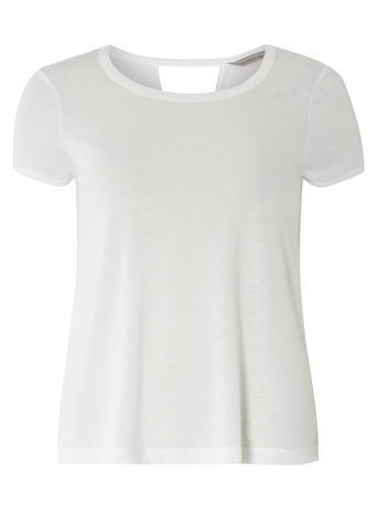 Womens Petite V Back Insert T Shirt White - pattern: plain; style: t-shirt; predominant colour: white; occasions: casual; length: standard; fit: body skimming; neckline: crew; sleeve length: short sleeve; sleeve style: standard; pattern type: fabric; texture group: jersey - stretchy/drapey; fibres: viscose/rayon - mix; season: s/s 2016; wardrobe: basic