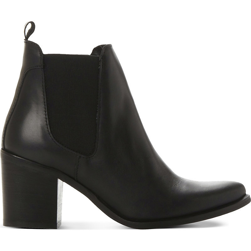 Leather Gusset Boots, Women's, Eur 36 / 3 Uk Women, Black Leather - predominant colour: black; occasions: casual, creative work; material: leather; heel height: high; heel: block; toe: pointed toe; boot length: ankle boot; style: standard; finish: plain; pattern: plain; season: s/s 2016; wardrobe: highlight