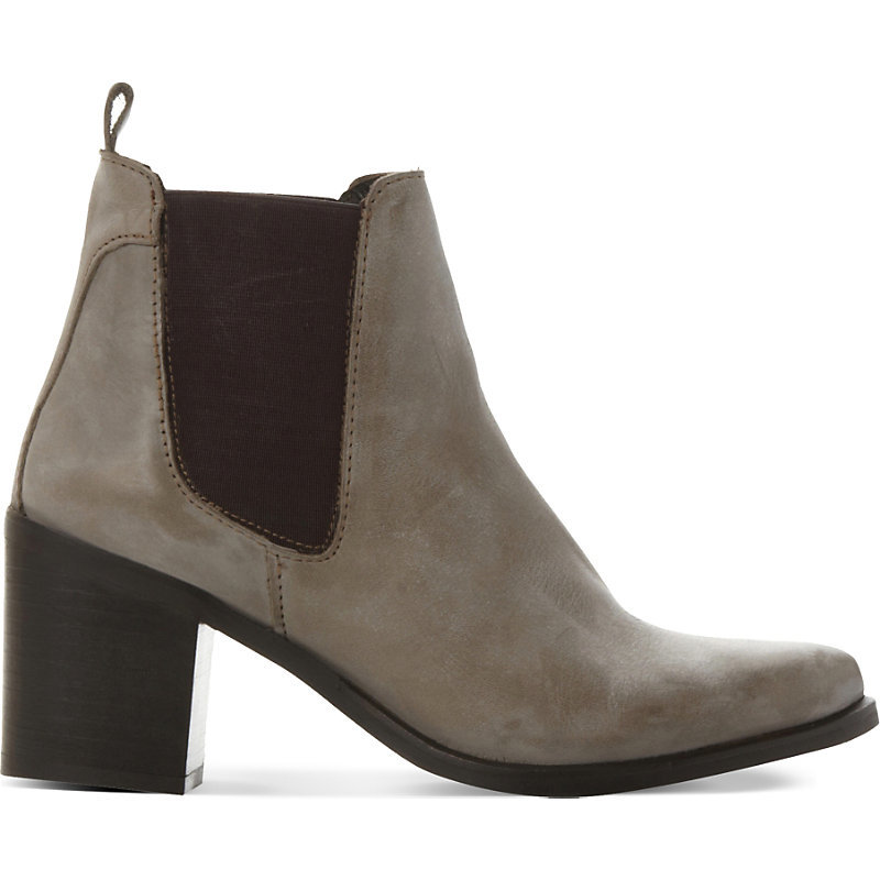 Leather Gusset Boots, Women's, Eur 41 / 8 Uk Women, Grey Leather - predominant colour: mid grey; occasions: casual, creative work; material: leather; heel height: high; heel: block; toe: pointed toe; boot length: ankle boot; style: standard; finish: plain; pattern: plain; season: s/s 2016; wardrobe: highlight