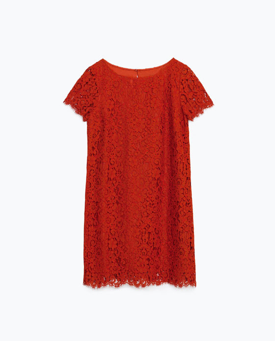 Lace Dress - style: tunic; length: mid thigh; neckline: slash/boat neckline; fit: loose; predominant colour: true red; occasions: evening, occasion; sleeve length: short sleeve; sleeve style: standard; texture group: lace; pattern type: fabric; pattern size: light/subtle; pattern: patterned/print; fibres: viscose/rayon - mix; embellishment: lace; season: s/s 2016; wardrobe: event