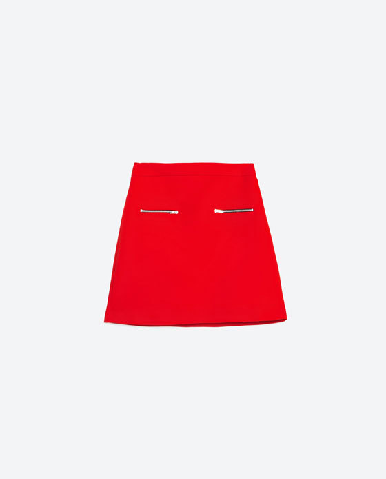 Mini Skirt With Zips - length: mini; pattern: plain; fit: loose/voluminous; hip detail: front pockets at hip; waist: high rise; predominant colour: true red; occasions: evening; style: a-line; fibres: polyester/polyamide - 100%; waist detail: narrow waistband; texture group: crepes; pattern type: fabric; embellishment: zips; season: s/s 2016