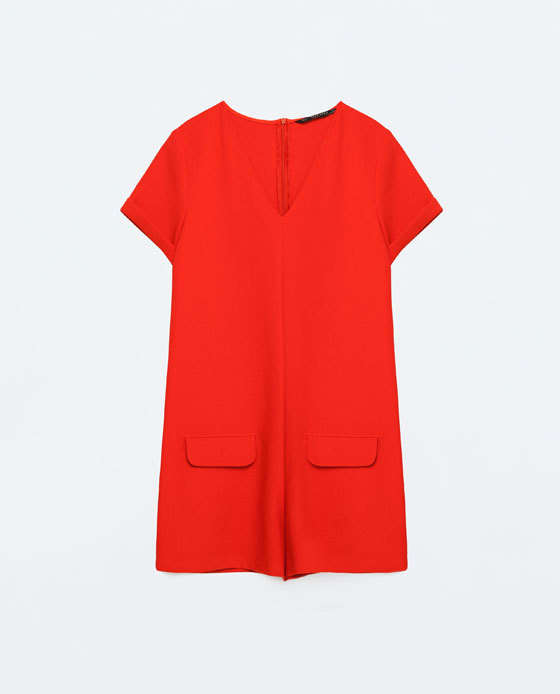 Short Jumpsuit With Pockets - neckline: v-neck; pattern: plain; hip detail: front pockets at hip; length: short shorts; predominant colour: true red; occasions: evening; fit: straight cut; fibres: polyester/polyamide - 100%; sleeve length: short sleeve; sleeve style: standard; texture group: crepes; style: jumpsuit; pattern type: fabric; season: s/s 2016; wardrobe: event