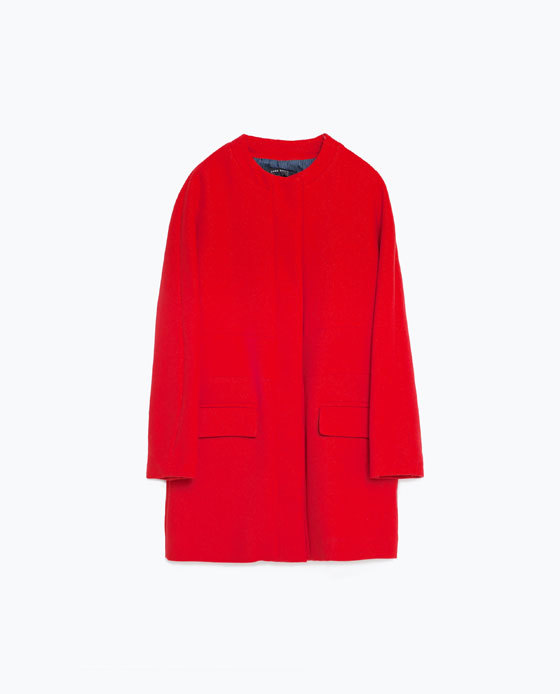 Red Cotton Coat - pattern: plain; collar: round collar/collarless; style: single breasted; length: mid thigh; predominant colour: true red; occasions: casual, work, creative work; fit: straight cut (boxy); fibres: cotton - 100%; sleeve length: long sleeve; sleeve style: standard; collar break: high; pattern type: fabric; texture group: woven bulky/heavy; season: s/s 2016; wardrobe: highlight
