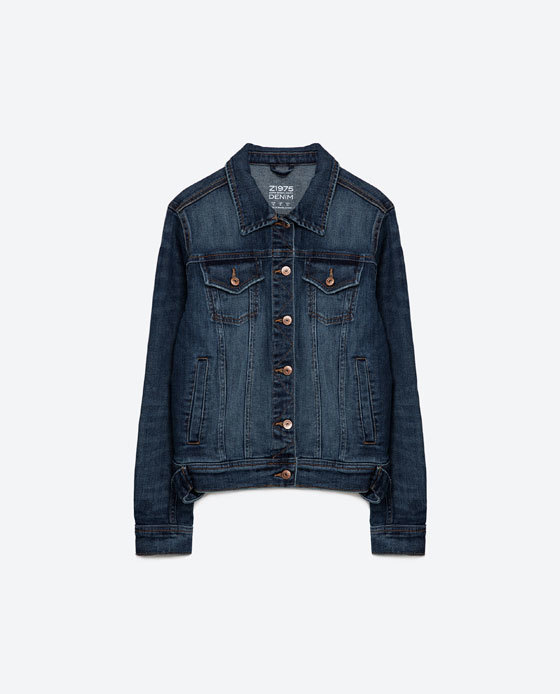 Basic Denim Jacket - pattern: plain; style: denim; predominant colour: denim; occasions: casual; length: standard; fit: straight cut (boxy); fibres: cotton - stretch; collar: shirt collar/peter pan/zip with opening; sleeve length: long sleeve; sleeve style: standard; texture group: denim; collar break: high/illusion of break when open; pattern type: fabric; season: s/s 2016