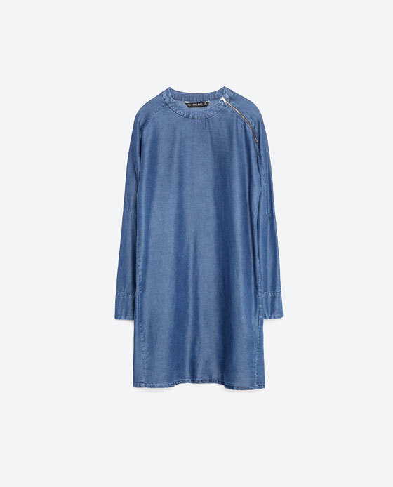 Dress With Shoulder Zip - style: tunic; length: mid thigh; neckline: round neck; fit: loose; pattern: plain; predominant colour: denim; occasions: casual, creative work; fibres: viscose/rayon - 100%; sleeve length: long sleeve; sleeve style: standard; texture group: denim; pattern type: fabric; season: s/s 2016; wardrobe: basic