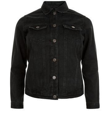 Curves Black Denim Jacket - pattern: plain; style: denim; fit: slim fit; predominant colour: black; occasions: casual; length: standard; fibres: cotton - mix; collar: shirt collar/peter pan/zip with opening; sleeve length: long sleeve; sleeve style: standard; texture group: denim; collar break: high/illusion of break when open; pattern type: fabric; season: s/s 2016; wardrobe: basic