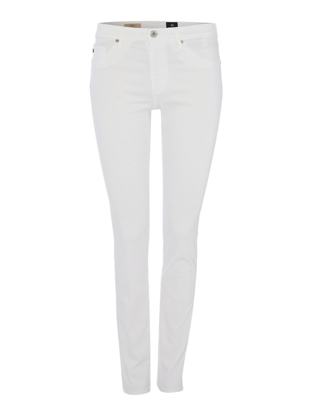 The Sateen Stilt In White, White - style: skinny leg; length: standard; pattern: plain; pocket detail: traditional 5 pocket; waist: mid/regular rise; predominant colour: white; occasions: casual, creative work; fibres: cotton - stretch; texture group: denim; pattern type: fabric; season: s/s 2016; wardrobe: highlight