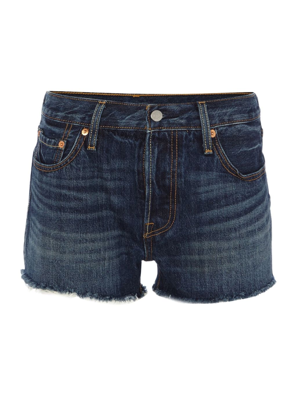 501 Denim Shorts In Echo Park, Denim Mid Wash - pattern: plain; pocket detail: traditional 5 pocket; waist: mid/regular rise; predominant colour: navy; occasions: casual, holiday; fibres: cotton - stretch; texture group: denim; pattern type: fabric; season: s/s 2016; style: denim; length: short shorts; fit: slim leg; wardrobe: holiday