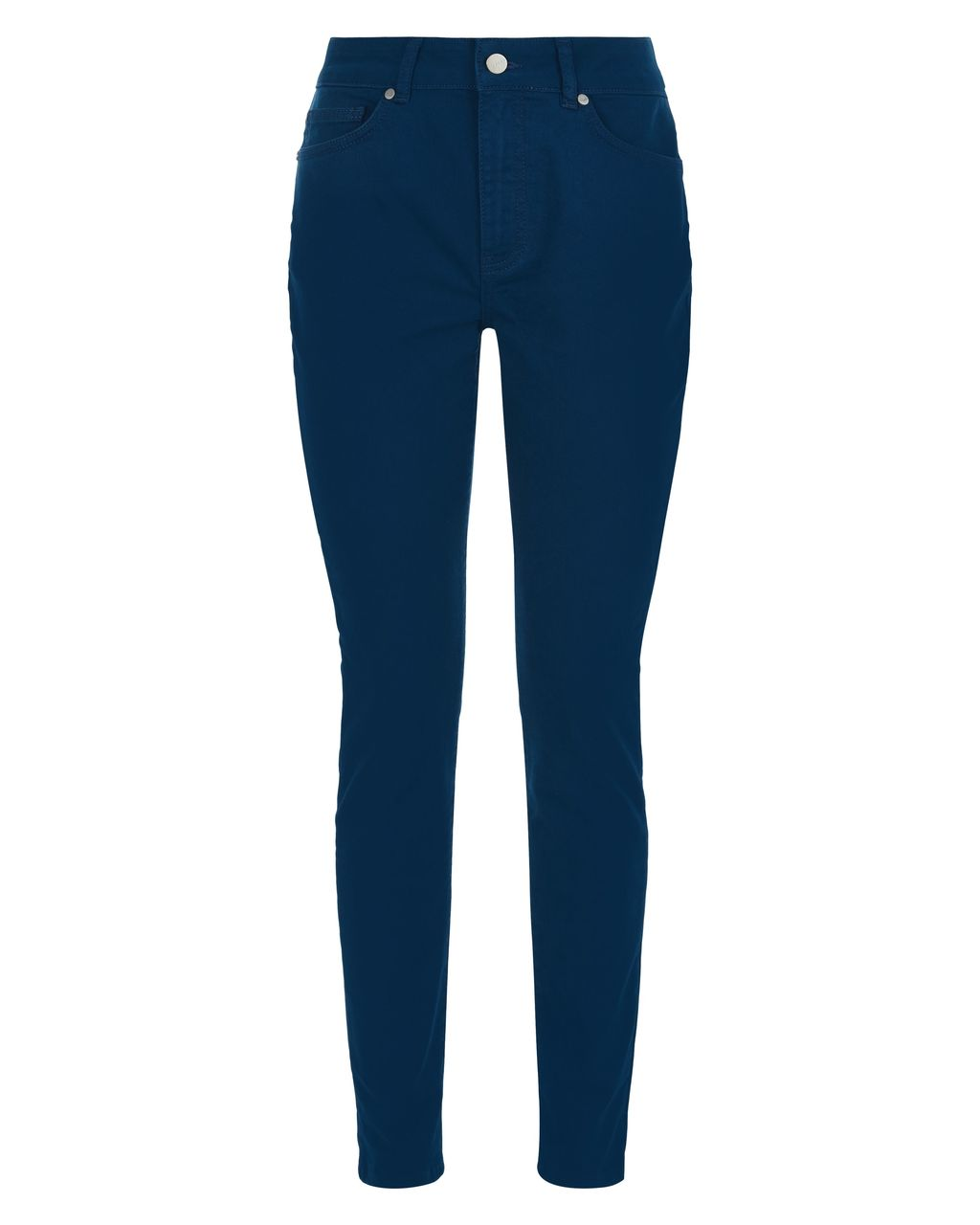 Colour Skinny Jeans, Blue - style: skinny leg; length: standard; pattern: plain; waist: high rise; pocket detail: traditional 5 pocket; predominant colour: navy; occasions: casual; fibres: cotton - stretch; jeans detail: dark wash; texture group: denim; pattern type: fabric; season: s/s 2016; wardrobe: basic
