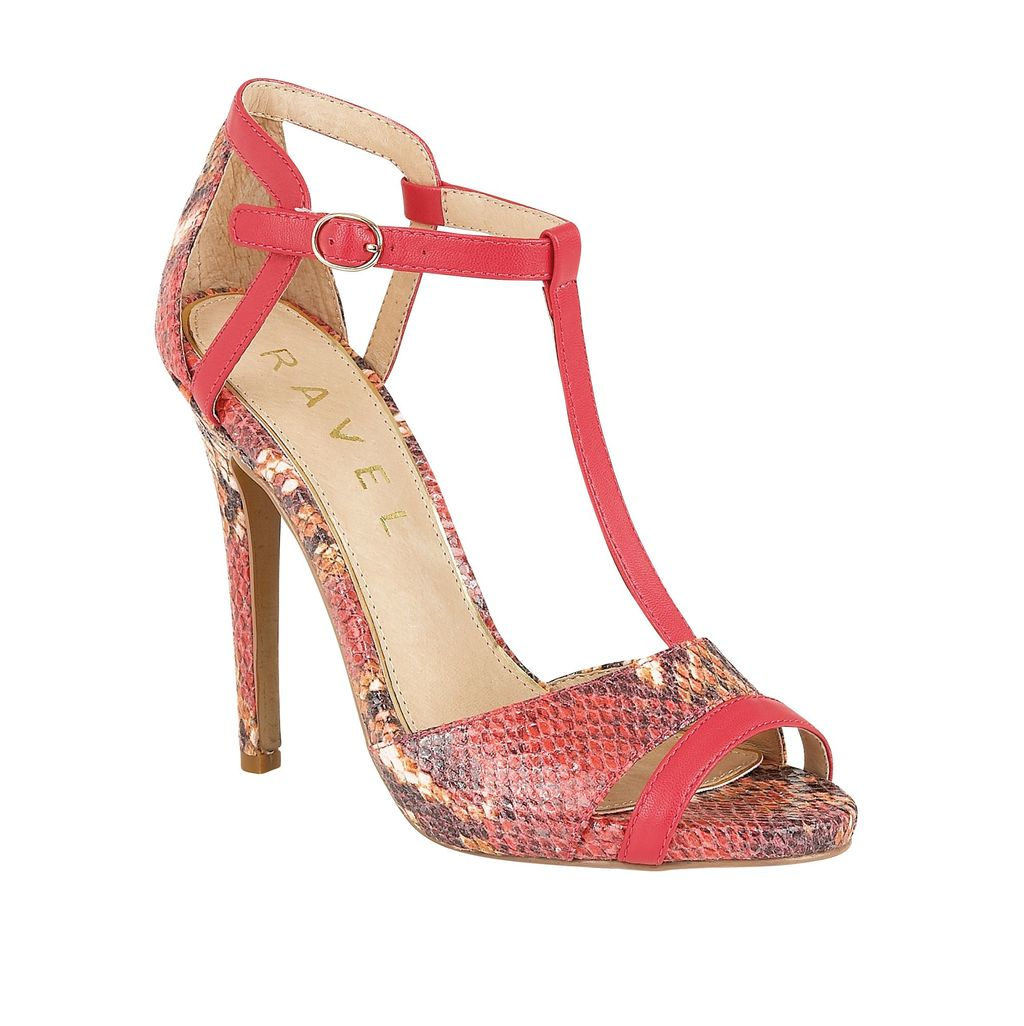 Mobile Stiletto Heeled Sandals, Coral - predominant colour: coral; secondary colour: mid grey; occasions: evening, occasion; material: faux leather; ankle detail: ankle strap; heel: stiletto; toe: open toe/peeptoe; style: t-bar; finish: plain; pattern: animal print; heel height: very high; season: s/s 2016; wardrobe: event