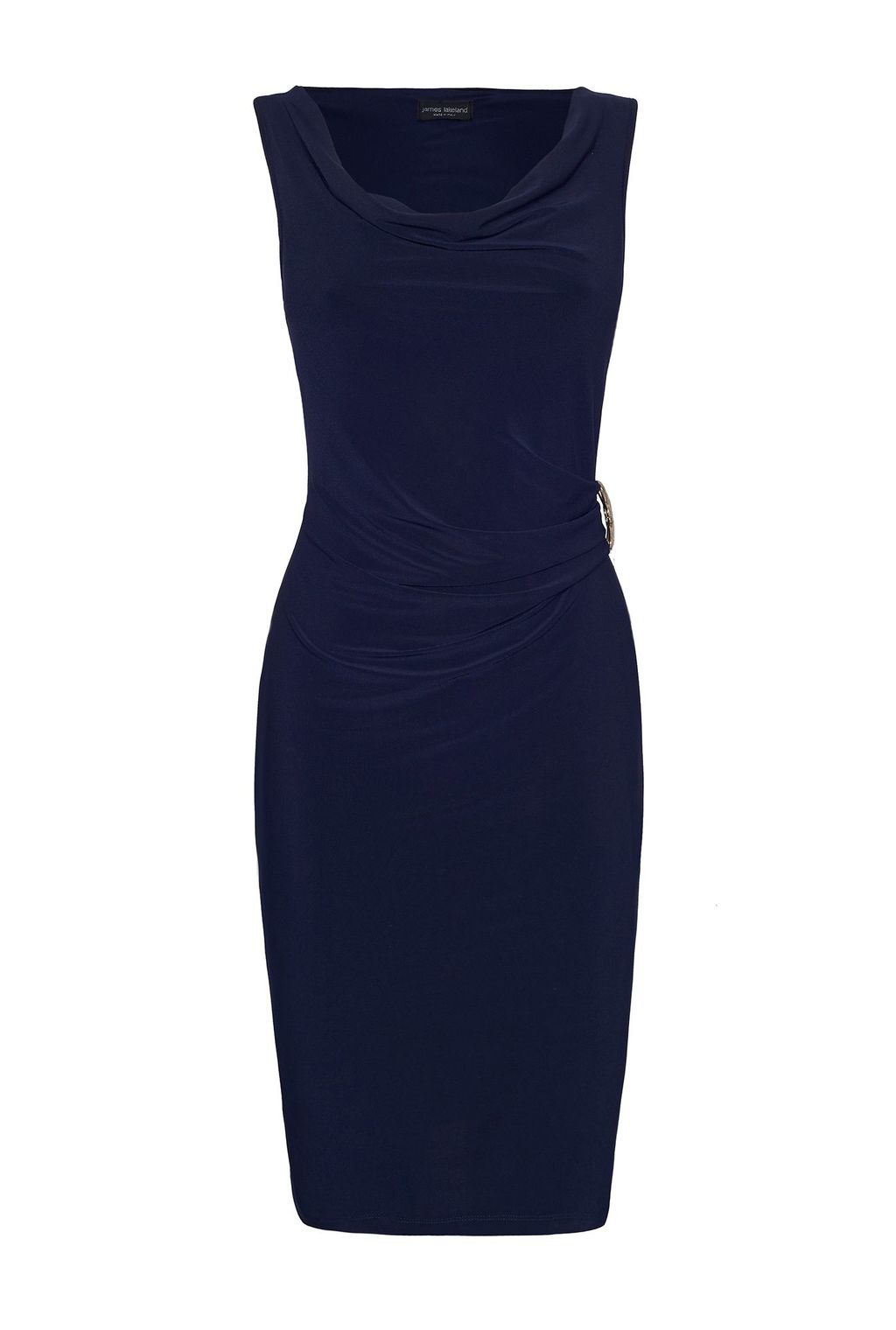 Sleeveless Side Ruched Dress, Navy - style: shift; neckline: cowl/draped neck; pattern: plain; sleeve style: sleeveless; waist detail: flattering waist detail; predominant colour: navy; occasions: evening, occasion; length: just above the knee; fit: body skimming; fibres: polyester/polyamide - stretch; sleeve length: sleeveless; texture group: jersey - clingy; pattern type: fabric; season: s/s 2016; wardrobe: event