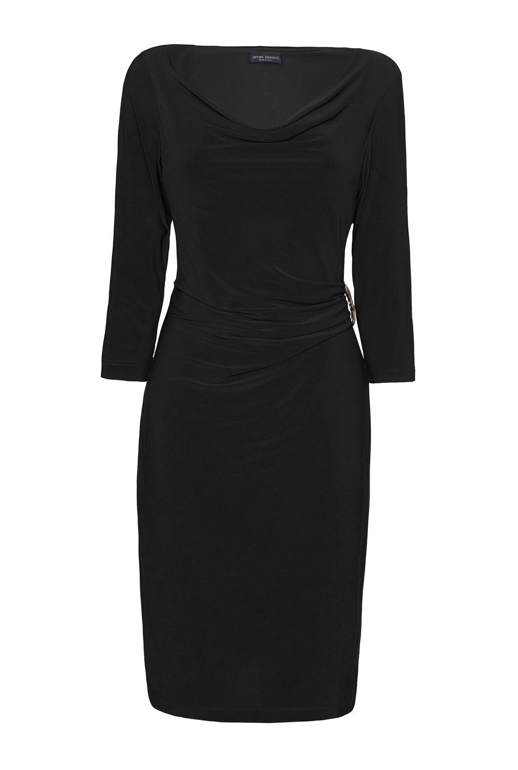 3/4 Sleeve Side Ruched Dress, Black - style: shift; neckline: cowl/draped neck; pattern: plain; waist detail: twist front waist detail/nipped in at waist on one side/soft pleats/draping/ruching/gathering waist detail; hip detail: fitted at hip; predominant colour: black; occasions: evening; length: just above the knee; fit: body skimming; fibres: polyester/polyamide - stretch; sleeve length: 3/4 length; sleeve style: standard; texture group: jersey - clingy; pattern type: fabric; season: s/s 2016; wardrobe: event