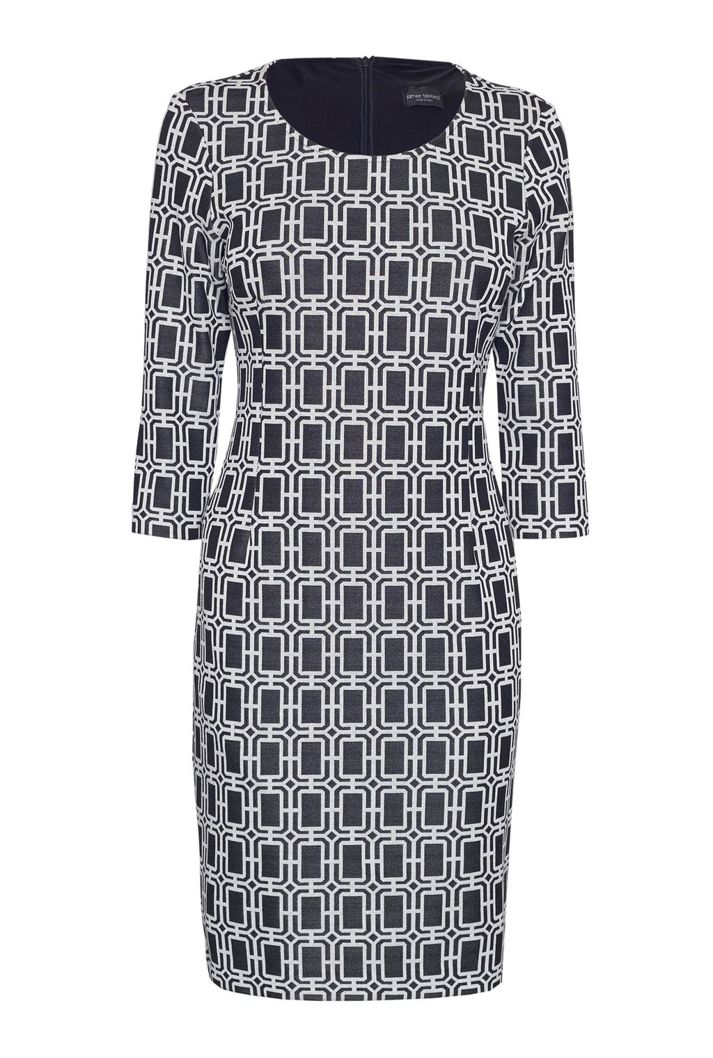 3/4 Sleeve Jacquard Dress, White - style: shift; fit: tailored/fitted; pattern: checked/gingham; secondary colour: white; predominant colour: black; occasions: evening, occasion; length: just above the knee; fibres: polyester/polyamide - stretch; neckline: crew; sleeve length: 3/4 length; sleeve style: standard; trends: monochrome; pattern type: fabric; pattern size: standard; texture group: brocade/jacquard; season: s/s 2016; wardrobe: event